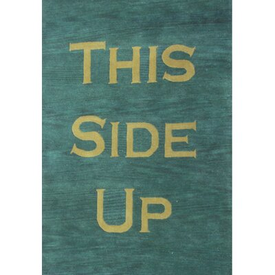 Script Green Rug Rug Size: Rectangle 8 x 11