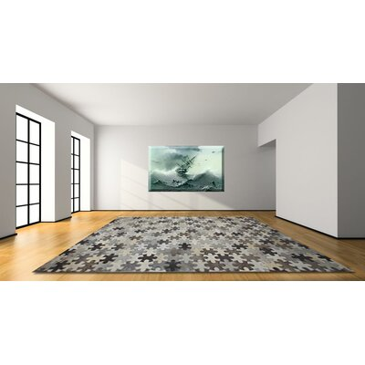Hair on Hide Gray Area Rug Rug Size: 5 x 8