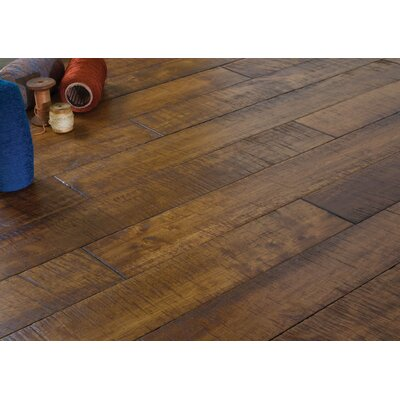 4.5 Solid Hevea Hardwood Flooring in Distressed Chai
