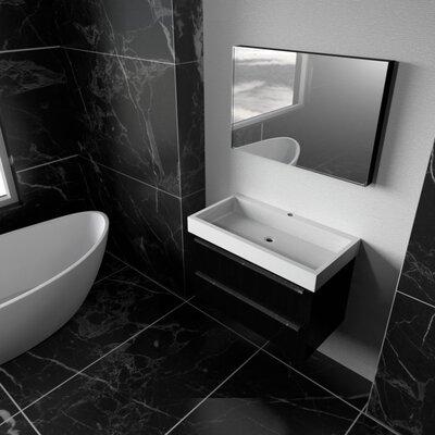 Elaine 30 Single Bathroom Vanity Set with Mirror Finish: Black Wood