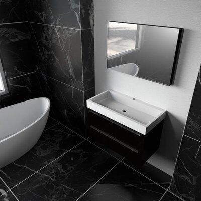 Elaine 30 Single Bathroom Vanity Set with Mirror Finish: Wenge