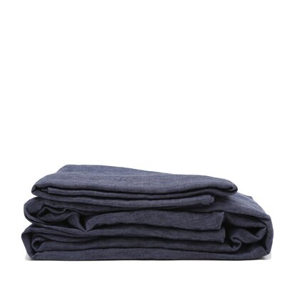 Linen Sheet Set Size: King, Color: Heather Navy