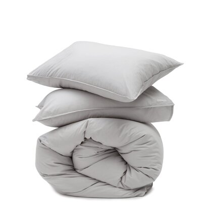 Cotton Percale 3 Piece Duvet Set Size: King, Color: Light Gray