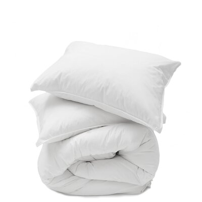 Cotton Percale 3 Piece Duvet Set Size: Queen, Color: White