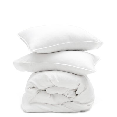 Linen 3 Piece Duvet Set Color: White, Size: King