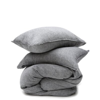 Linen 3 Piece Duvet Set Size: Queen, Color: Heather Charcoal