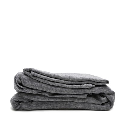 Linen Sheet Set Color: Heather Charcoal, Size: Queen