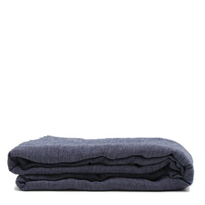 Linen Flat Sheet Size: California King, Color: Heather Navy