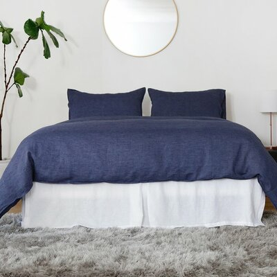 Linen 3 Piece Duvet Set Size: Queen, Color: Heather Navy