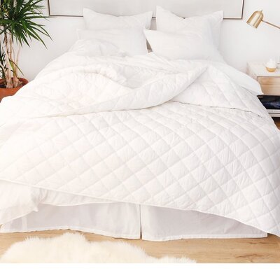 Cotton Percale 3 Piece Coverlet Set Color: White, Size: King