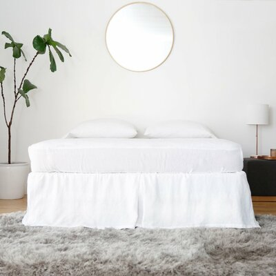 Linen Pleated Bed Skirt Size: Queen