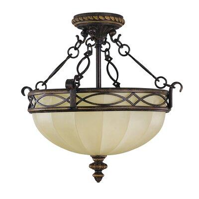 Linda 3-Light Semi Flush Mount Size: 14.5 H x 15.5 D, Bulb Type: Self Ballasted CFL GU24 13W