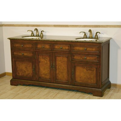 Christine 72 Double Bathroom Vanity Set Top Finish: Baltic Brown Granite Stone
