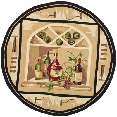 Brayton Ivory Wine Cellar Novelty Area Rug Rug Size: Round 4