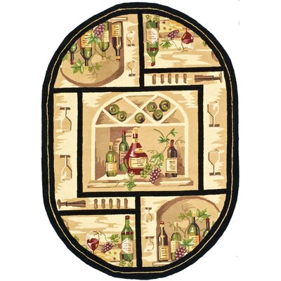 Brayton Ivory Wine Cellar Novelty Area Rug Rug Size: Oval 46 x 66