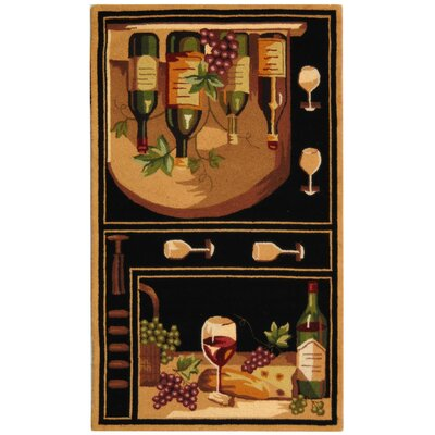 Brayton Black Wine Cellar Novelty Area Rug Rug Size: Rectangle 79 x 99