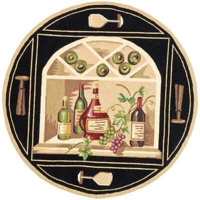 Brayton Black Wine Cellar Novelty Area Rug Rug Size: Round 8