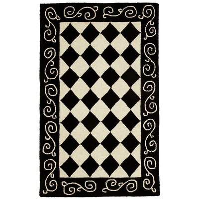 Brayton Black&Ivory Area Rug Rug Size: Rectangle 18 x 26