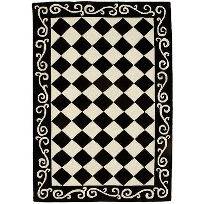 Brayton Black&Ivory Area Rug Rug Size: Rectangle 6 x 9