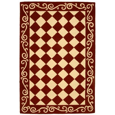 Brayton Red/Ivory Area Rug Rug Size: Rectangle 39 x 59