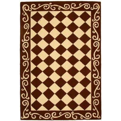 Brayton Brown/Ivory Area Rug Rug Size: 39 x 59