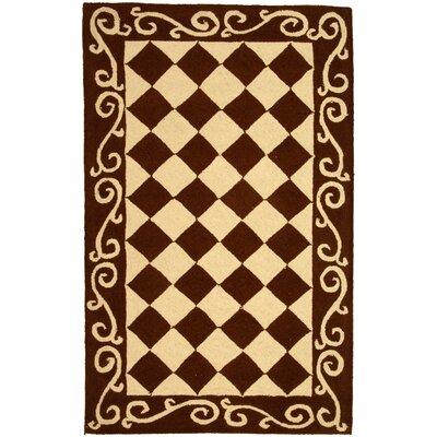 Brayton Brown/Ivory Area Rug Rug Size: 29 x 49