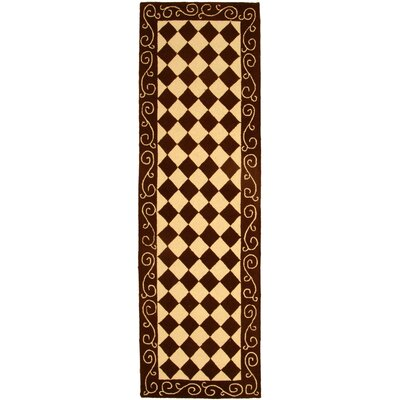 Brayton Brown/Ivory Area Rug Rug Size: Runner 26 x 8
