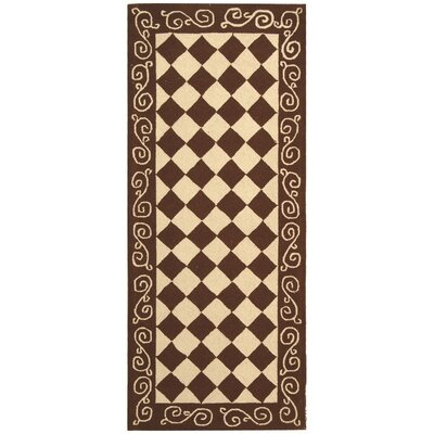 Brayton Brown/Ivory Area Rug Rug Size: Runner 26 x 6