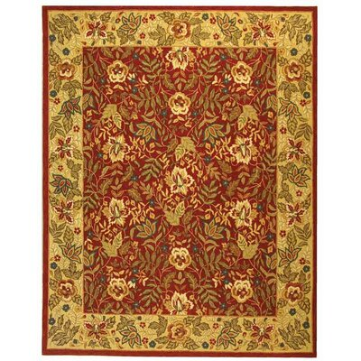 Brayton Red&Ivory Area Rug Rug Size: Rectangle 6' x 9'
