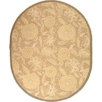 Brayton Light Brown/Ivory Area Rug Rug Size: Oval 46 x 66