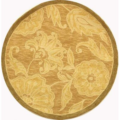 Brayton Light Brown/Ivory Area Rug Rug Size: Round 4