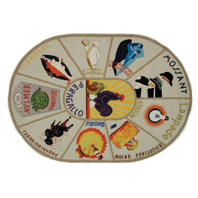 Brayton Ivory/Orange Novelty Area Rug Rug Size: Oval 76 x 96