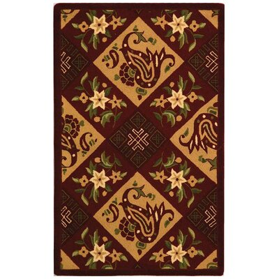Brayton Burgandy/Gold Area Rug Rug Size: Rectangle 26 x 4
