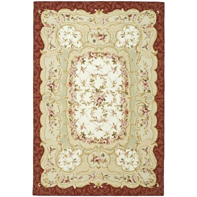 Brayton Ivory/Burgundy Area Rug Rug Size: Rectangle 5'3
