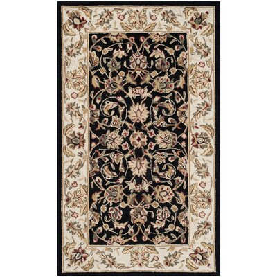 Brayton Black/Ivory Area Rug Rug Size: Rectangle 3 x 6