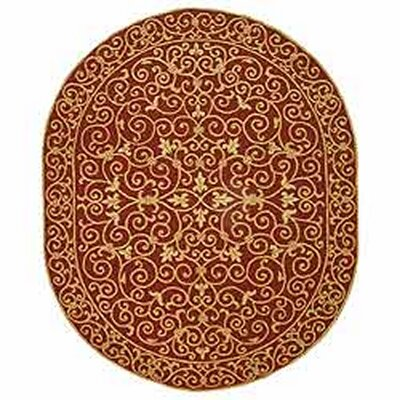 Brayton Burgundy/Iron Gate Area Rug Rug Size: Oval 46 x 66