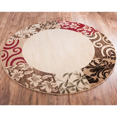 Janell Vane Willow Damask Patch Border Area Rug Rug Size: Round 53