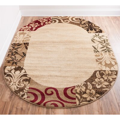 Janell Vane Willow Damask Patch Border Area Rug Rug Size: Oval 53 x 610