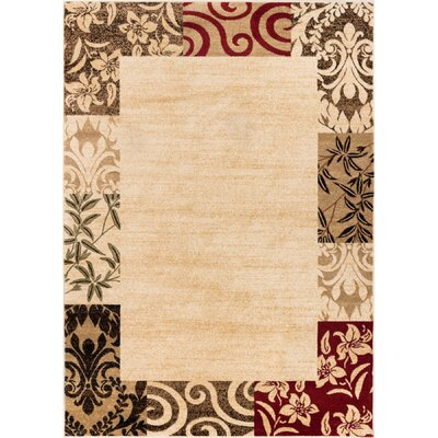 Janell Vane Willow Damask Patch Border Area Rug Rug Size: Rectangle 53 x 73