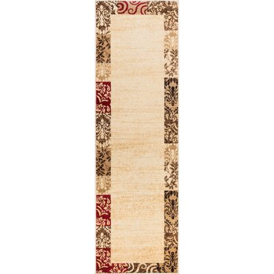 Janell Vane Willow Damask Patch Border Area Rug Rug Size: Runner 27 x 910