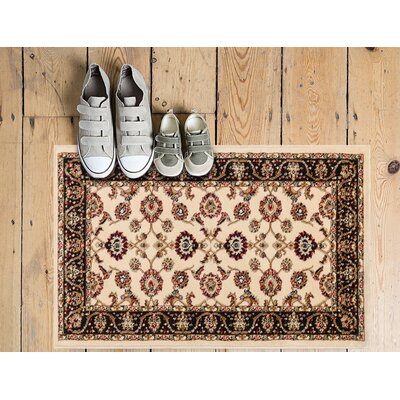 Janell Sarouk Border Ivory Area Rug Rug Size: Rectangle 53 x 73