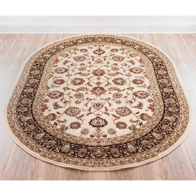 Janell Sarouk Border Ivory Area Rug Rug Size: Rectangle 67 x 96