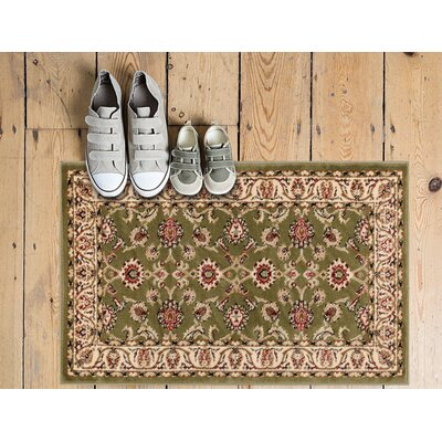 Janell Sarouk Border Green Area Rug Rug Size: 710 x 910