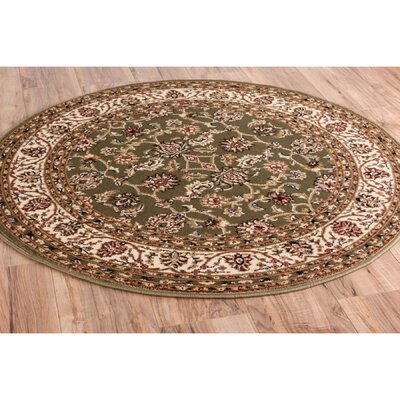 Janell Sarouk Border Green Area Rug Rug Size: Round 710