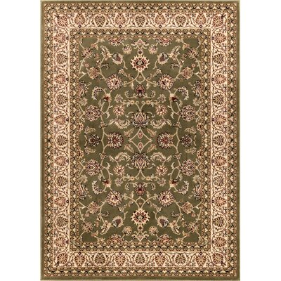 Janell Sarouk Border Green Area Rug Rug Size: Rectangle 93 x 126