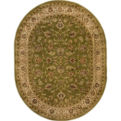 Janell Sarouk Border Green Area Rug Rug Size: Oval 710 x 910
