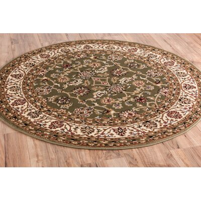 Janell Sarouk Border Green Area Rug Rug Size: Round 311