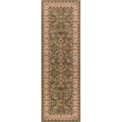 Janell Sarouk Border Green Area Rug Rug Size: Runner 23 x 73