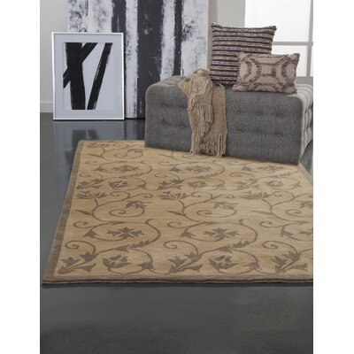 Eleanor Hand-Knotted Gold Area Rug Rug Size: 5 x 8