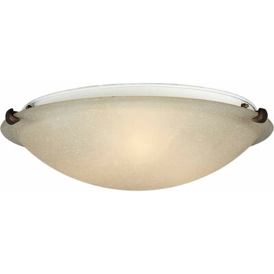 Caudill Flush Mount - Marble Glass Shade Size / Finish: 6 H x 20 W / Rustic Sienna